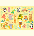 beach animals hand drawn style summer set vector image