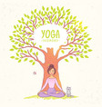 big tree yoga vector image vector image