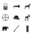 Bird hunting icons set simple style vector image vector image