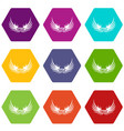 bird wing icons set 9 vector image vector image