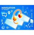 bright navigation map and head phone on blue vector image vector image
