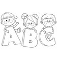 children holding letters vector image