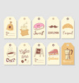 coffee hand drawn tags collection vintage style vector image vector image