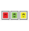 colourful set of bearded men in frames vector image