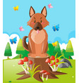cute dog sitting in the park vector image