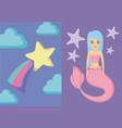 cute siren with rainbow and star vector image
