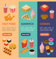 fast food banner vecrtical set isometric view vector image vector image