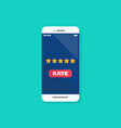 five star rating on smartphone vector image
