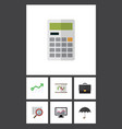 flat icon incoming set of calculate diagram vector image vector image