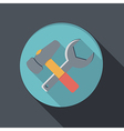 flat icon with a shadow hammer and wrench vector image