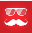 Flat white hipster glasses and mustache vector image