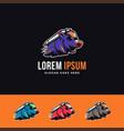 flying rocket pig mascot cartoon logo icon vector image vector image