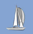 hand drawn white sailboat vector image