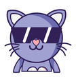 happy cat adorable feline animal with sunglasses vector image vector image