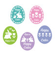 happy easter egg silhouettes with tulips vector image vector image