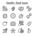 healthy food icon set in thin line style vector image vector image