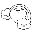 heart and rainbow with clouds black and white vector image