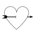 heart cartoon with arrow icon image vector image vector image