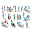 hospital staff patients isometric people vector image