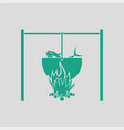 icon of fire and fishing pot vector image vector image