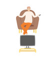 man home alone watching film sitting on pouf vector image