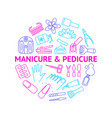 manicure and pedicure thin line round design vector image vector image