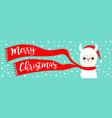 merry christmas banner alpaca llama baface vector image vector image