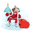 Monkey dressed as Santa is holding Christmas tree vector image