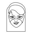 monochrome contour of girl superhero with hair vector image