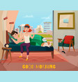 morning waking of couple vector image vector image