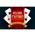 online casino playing game welcome screen vector image