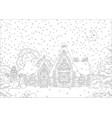ornate log house under snow vector image vector image