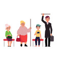 people men and women sitting and standing in vector image vector image