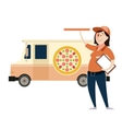 Pizza delivery car vector image