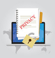 privacy online document locked data security vector image vector image