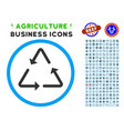 recycling triangle rounded icon with set vector image