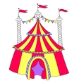 red and yellow line art drawing of circus tent vector image