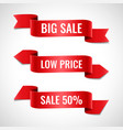 red ribbons sale banners set vector image vector image