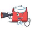 sailor with binocular tool box character cartoon vector image