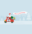 santa claus ride scooter with christmas flag vector image