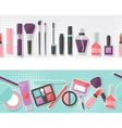 Seamless background with cosmetics sticker icons vector image