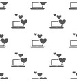 seamless laptop with heart pattern love symbol vector image vector image