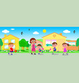 seamless line of houses with people vector image vector image