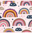 seamless pattern with love rainbows vector image vector image