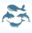 set blue underwater creatures with whales vector image vector image