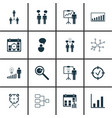 set of 16 management icons includes company vector image