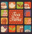 set of icons and logos for tea time vector image