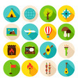 summer camp circle icons set vector image vector image