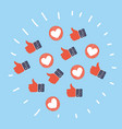 thumbs up and down heart signs on colorful round vector image vector image