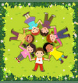 top view of kids lying on the grass in a circle vector image vector image